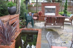 Red Brick Fireplace and Water Feature in Portland Oregon